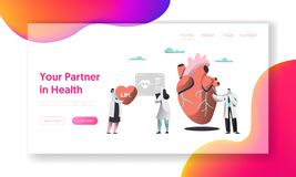 Professional Health Care Partnership Landing Page. Cardiologist with Stethoscope listen Human Heartbeat. Hospital Chart. Professional Health Care Partnership royalty free illustration