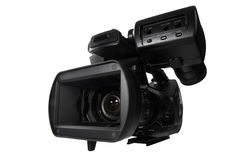 Professional High Definition Video Camera. HD video camera with view close to lens over white background Stock Images