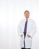 Professional Hispanic Male Wearing Lab Coat Stock Image
