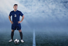 Professional Hispanic Soccer Player On The Field Ready To Play Royalty Free Stock Photography