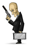 Professional Hitman. Illustration of a bald assassin in a suit with a pistol and a briefcase Royalty Free Stock Images