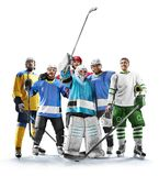 Professional hockey players in action on white backgound stock images