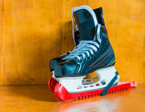 Professional hockey skates with protective covers covers Stock Images