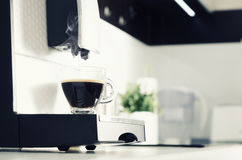 Professional home coffee maker in modern kitchen. Coffee machine espresso kitchen modern cup hot italian concept Royalty Free Stock Image