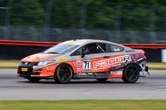 Professional Honda Civic Si race car on the course Stock Image