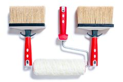 Professional house painter, work tools on a white background Stock Photography