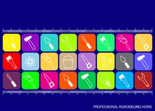 Professional house remodeling. Colored squares with icons of tools for repair on blue background royalty free illustration