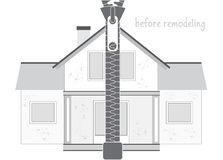 Professional House Remodeling. Silhouette of an old unrepaired house and a zipper. Part one - before remodeling. stock illustration