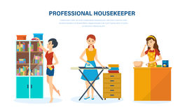 Professional housewife, in living room, kitchen, bedroom, engaged home affairs. Royalty Free Stock Images