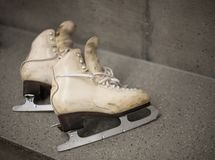 Professional ice skating shoes in dressing room Stock Photo