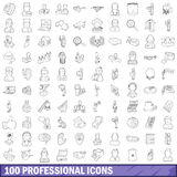 100 professional icons set, outline style Royalty Free Stock Image