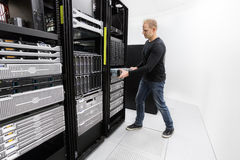It professional install rack server in datacenter Stock Image