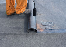 Professional installation of waterproofing royalty free stock photography
