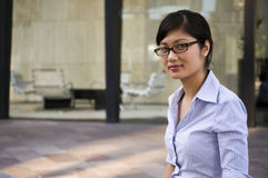 Professional intelligent woman. Young intelligent woman with glasses Royalty Free Stock Photo
