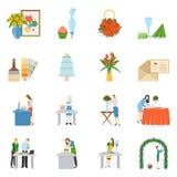 Professional Interior Decorators Flat Icons Collection Stock Image