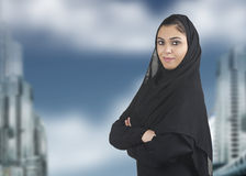 Professional islamic woman wearing hijab against a Royalty Free Stock Image