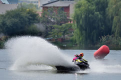 Professional jet ski riders compete at the Palazz Jet Ski Championship Stock Image