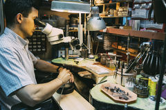 Professional jeweler working Royalty Free Stock Photography