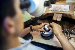 Professional jeweler working Royalty Free Stock Image