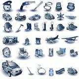 Professional job icons. Huge set of blue professional job icons, vector illustration Stock Photos