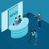 Professional Journalists At Studio Isometric Banner Royalty Free Stock Images