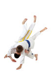 Professional judo throw in the performance of young athletes Royalty Free Stock Image