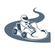 Professional kart racer sits in vehicle and drives down road. Professional kart racer wears helmet, sits in vehicle and drives down road isolated cartoon flat Stock Photos