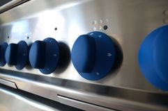 Professional kitchen detail, knob. Open burner knob, professional kitchen detail Stock Photo