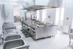 Interior of the professional kitchen stock image