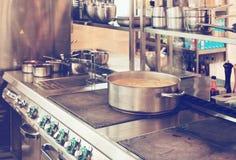 Professional kitchen interior, toned Stock Photos