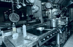 Professional kitchen interior, toned. Image Stock Image