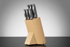 Professional Kitchen Knives Set in Wooden Box Royalty Free Stock Photography