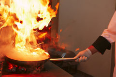 Professional kitchen: making sauce stock photography