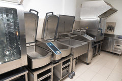 Professional kitchen steel equipment for food preparing.  Stock Image
