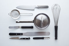 Professional kitchen utensils on white background Royalty Free Stock Photos