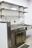 Professional kitchen, view counter in steel Royalty Free Stock Photo