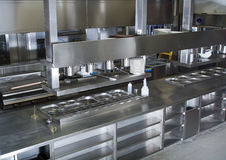 Professional kitchen, view counter in steel Stock Photos