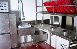 Professional kitchen, view counter in steel Royalty Free Stock Image