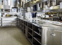 Professional kitchen, view counter in steel Stock Images