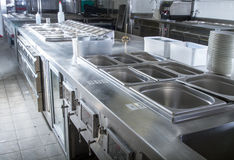 Professional kitchen, view counter in steel Stock Photo