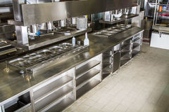 Professional kitchen, view counter in steel. Professional kitchen, view counter in stainless steel stock photos