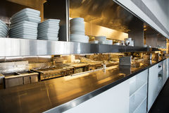 Professional kitchen, view counter in steel. Professional kitchen, view counter in stainless steel royalty free stock photo
