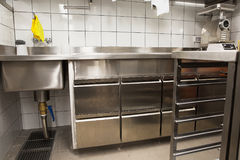 Professional kitchen, view counter in steel Stock Image