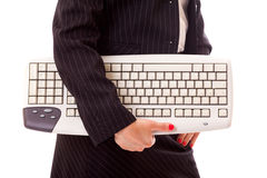 Professional Lady Holding Keyboard Royalty Free Stock Photography