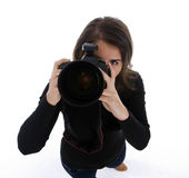 Professional lady photographer shooting you Royalty Free Stock Photo