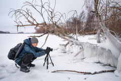 Professional on the lake. Nature photographer takes photos Stock Images