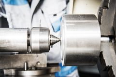Metalworking Industry Theme. Professional Lathe Machine Closeup. Metalworking Industry Theme Royalty Free Stock Image