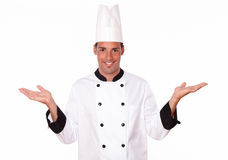 Professional latin chef holding up his palms Stock Photography