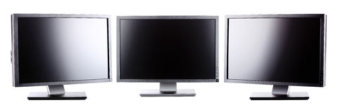 Professional lcd monitors. Professional ips panel lcd monitors, isolated on white Stock Photo