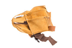 Professional leather tool belt. Royalty Free Stock Photo